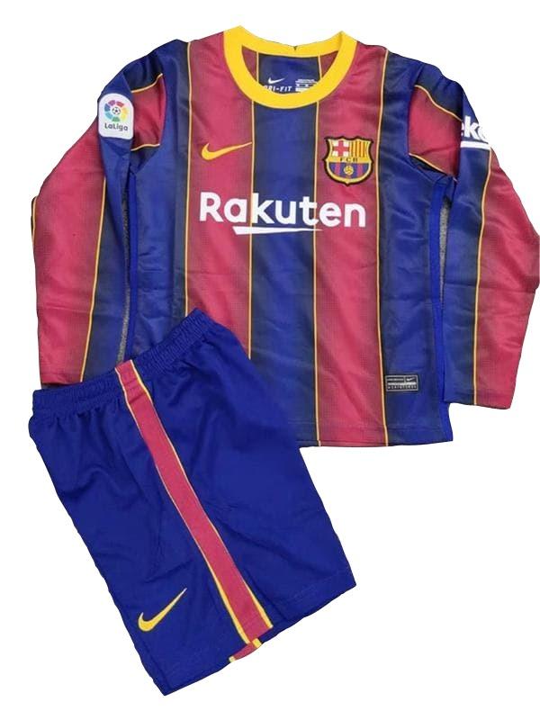 Барселона (Barcelona) Детская футбольная форма домашняя с длинным рукавом сезона 2020-2021